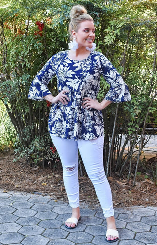 Always Ready Tropical Print Top - Navy
