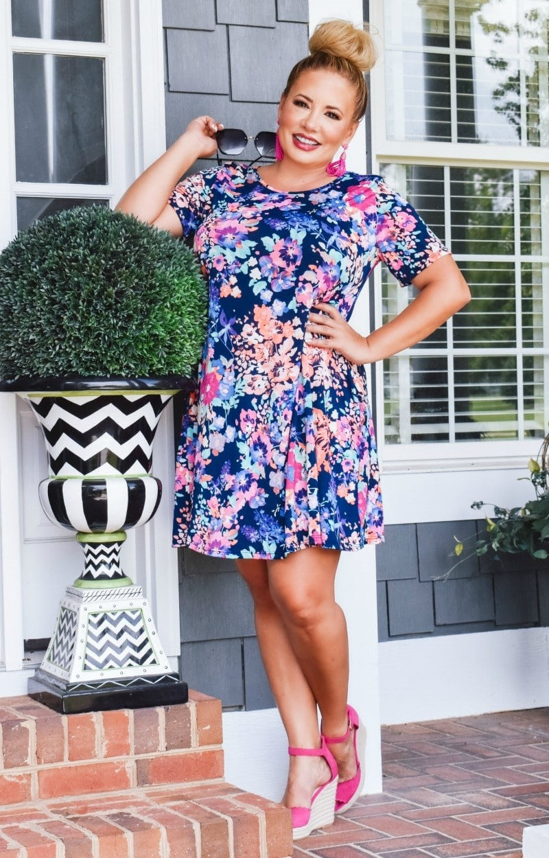 Load image into Gallery viewer, Crazy About You Floral Dress - Navy