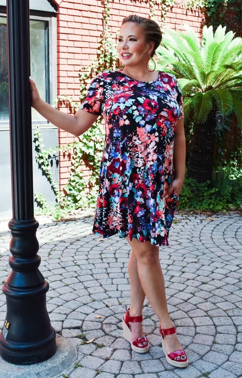 Load image into Gallery viewer, Crazy About You Floral Dress - Black