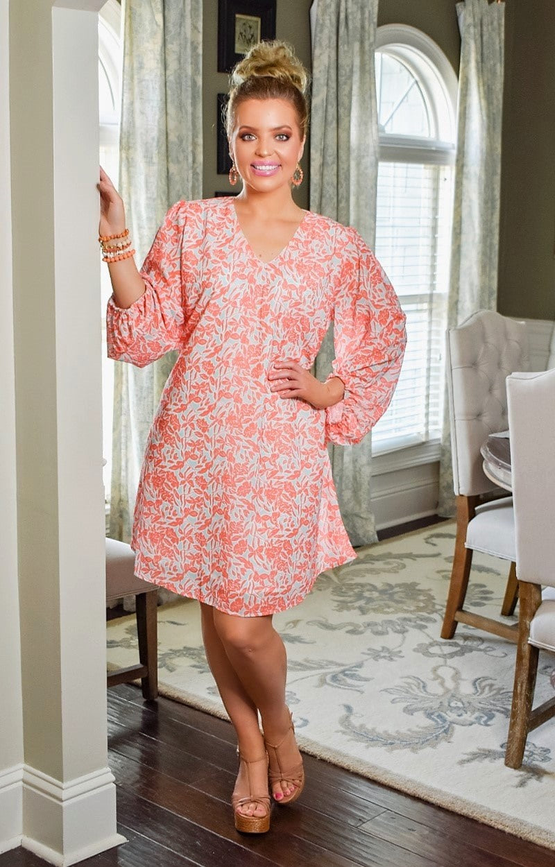 Load image into Gallery viewer, Have It Your Way Print Dress - Coral/Mint