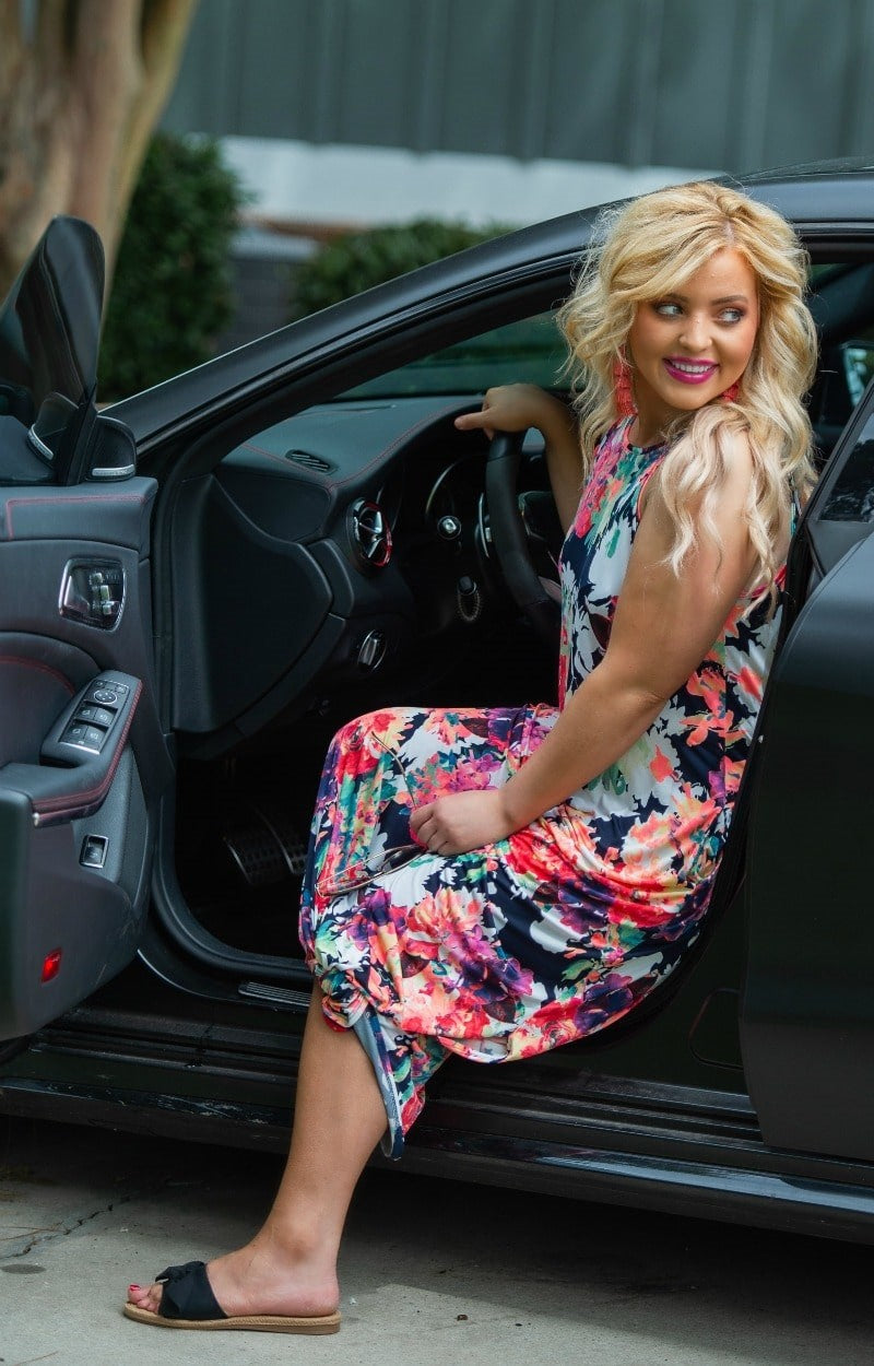 Load image into Gallery viewer, Grab Your Attention Floral Maxi Dress - Navy
