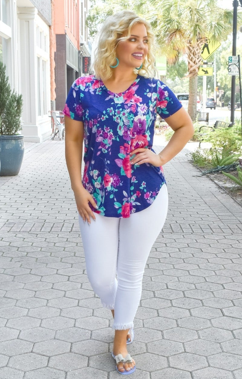 Just One Look Floral Top - Royal Blue
