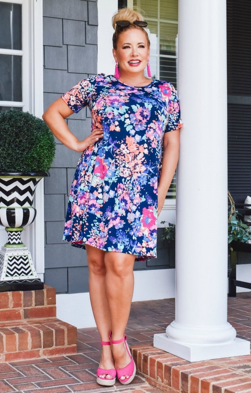 Crazy About You Floral Dress - Navy