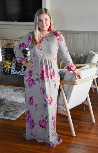 Good Feelings Floral Maxi Dress - Taupe