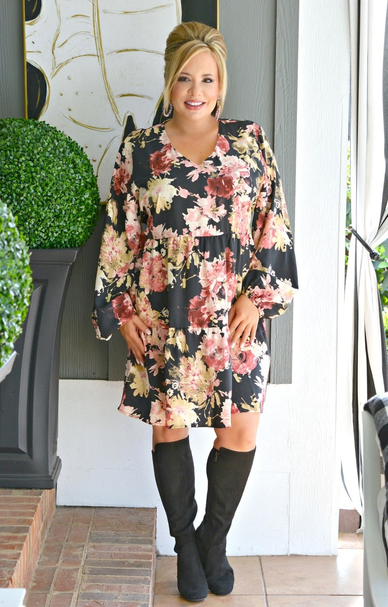 Load image into Gallery viewer, The Day Is Yours Floral Dress - Black