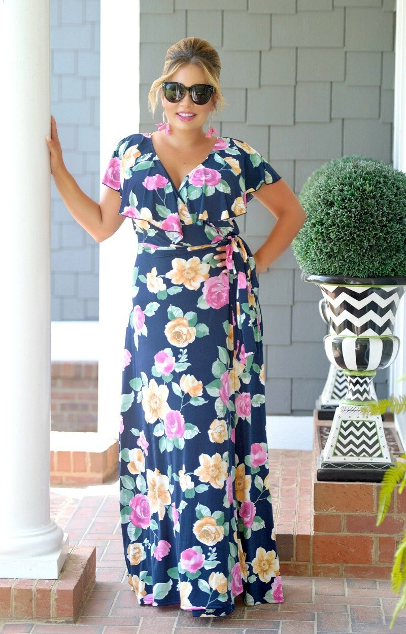 Sweet Desires Floral Maxi Dress - Navy