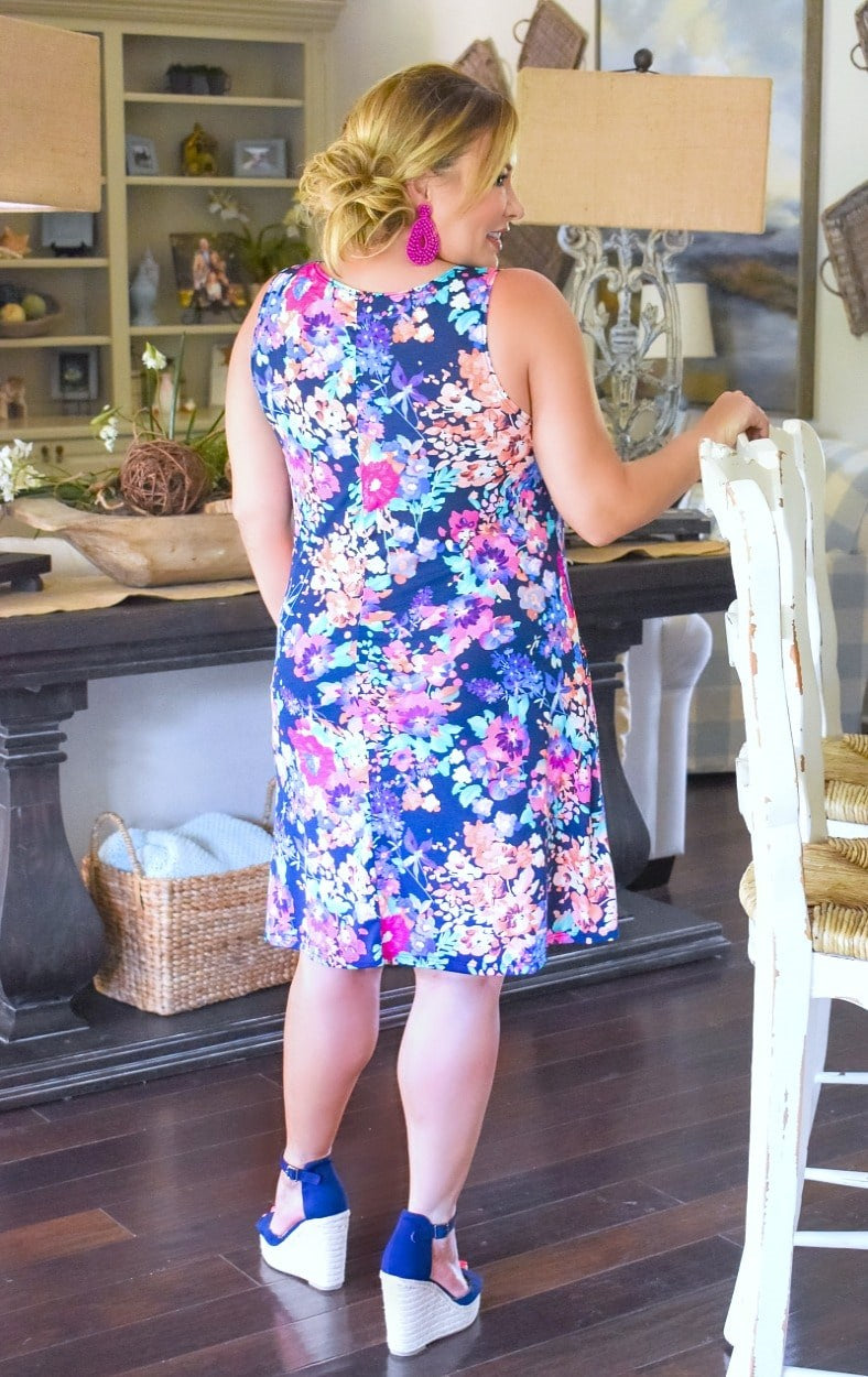 Blissful Beauty Floral Dress - Navy