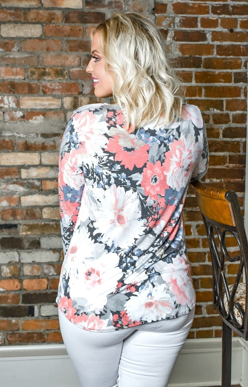 So Twisted Floral Top - Charcoal