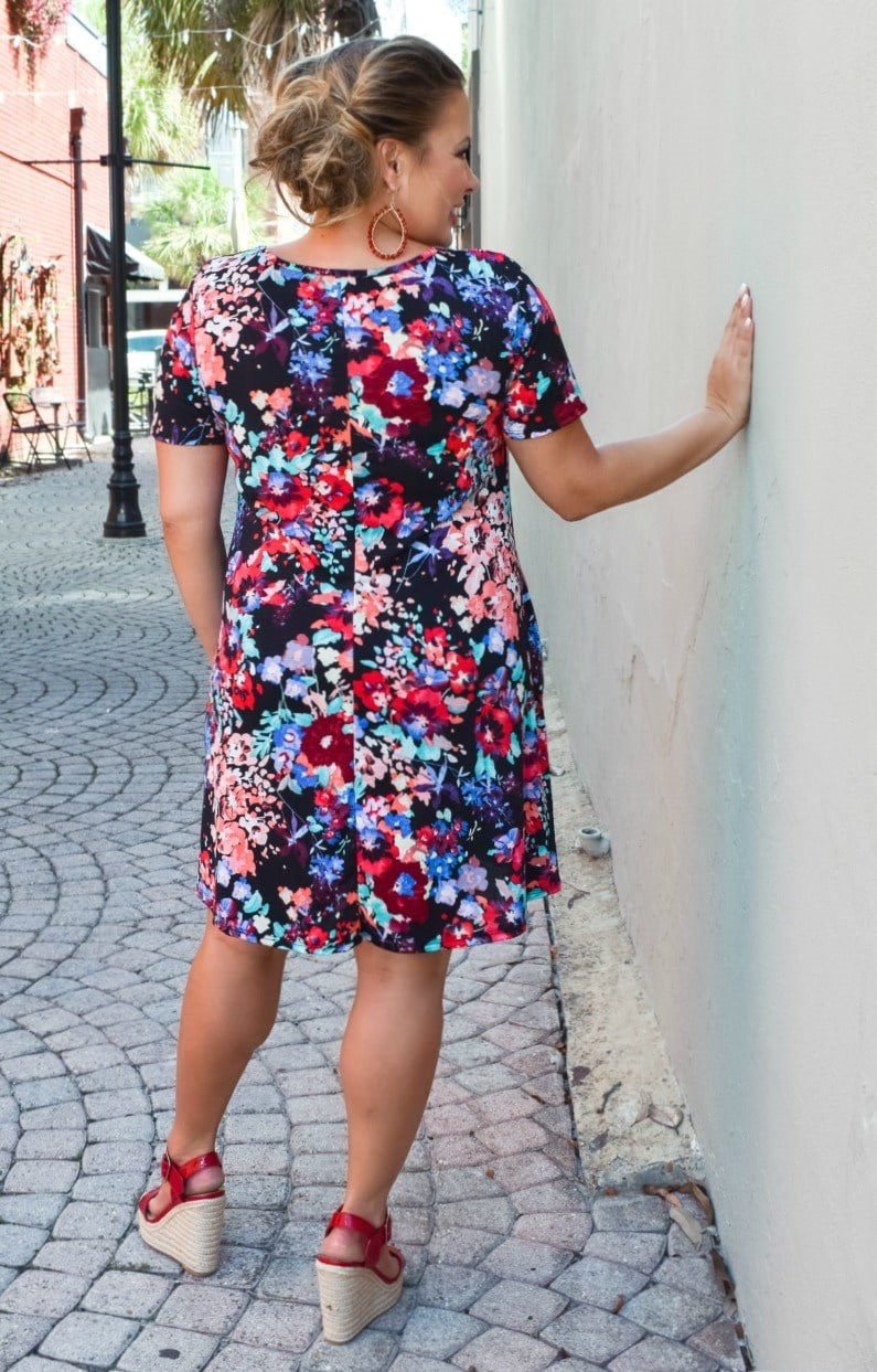 Crazy About You Floral Dress - Black