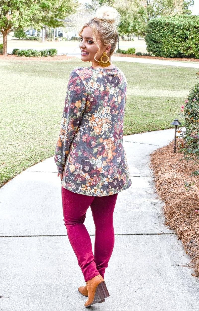 Secret Crush Floral Pullover - Charcoal