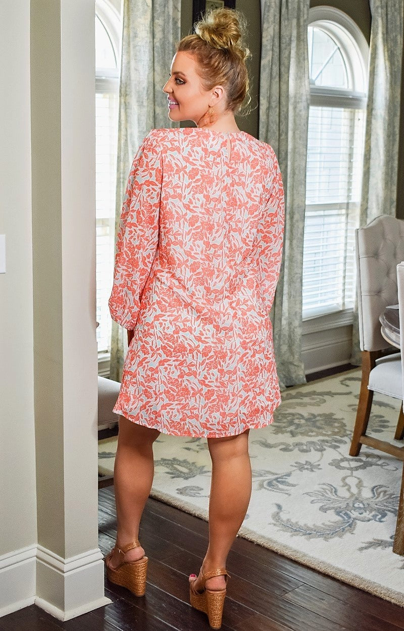 Have It Your Way Print Dress - Coral/Mint