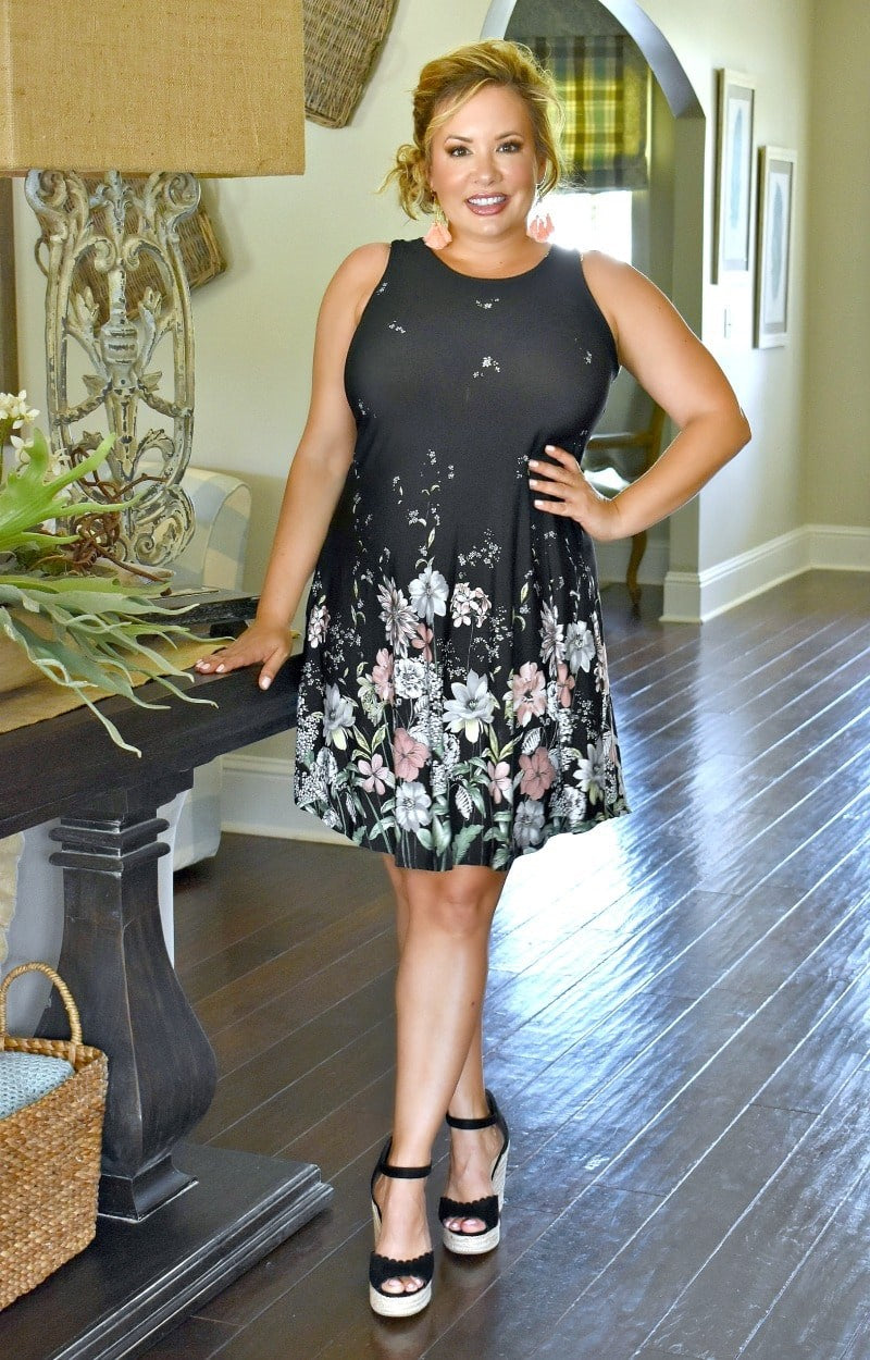 Load image into Gallery viewer, If You Want It Floral Dress - Black