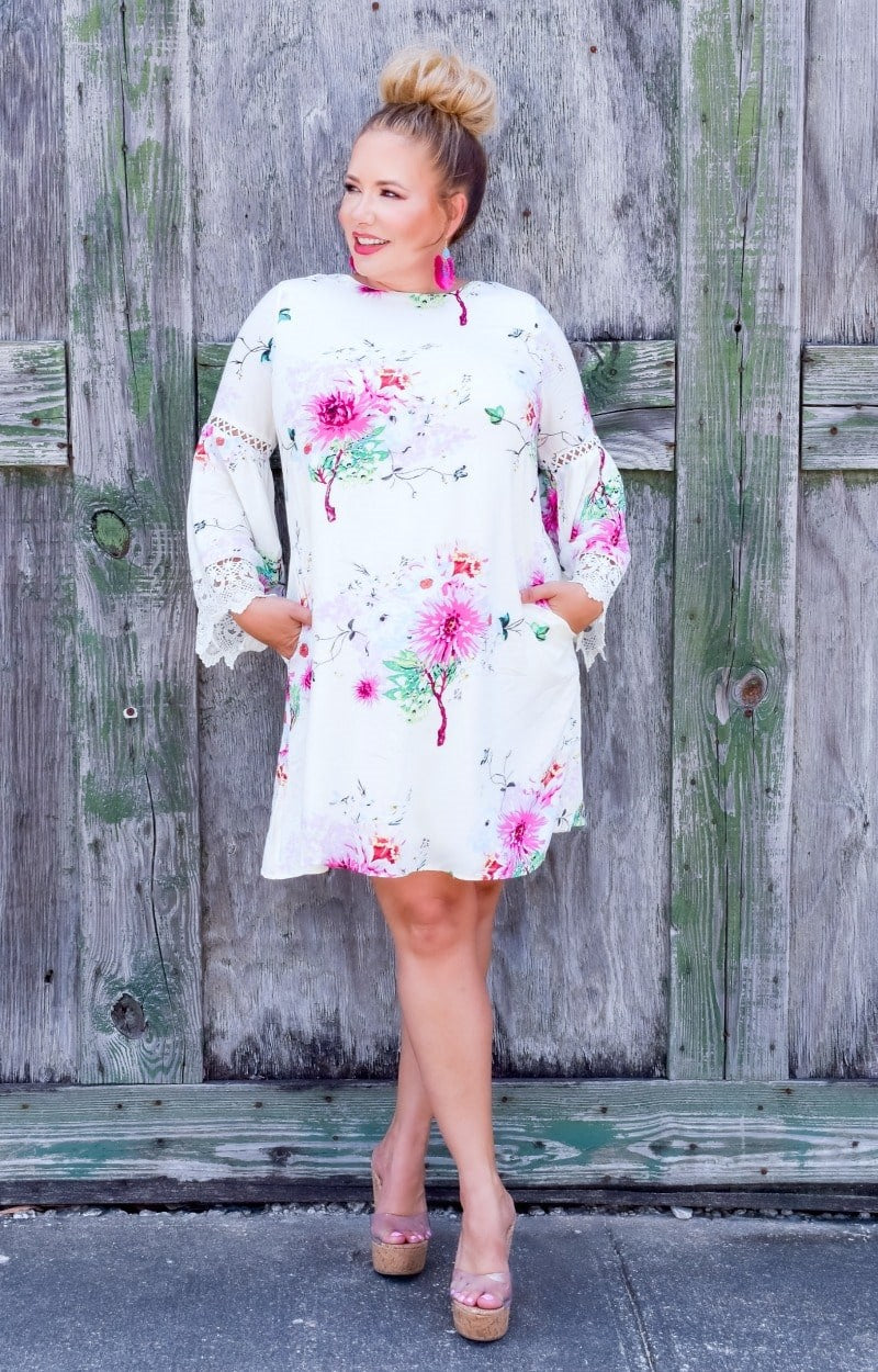 Feeling Ambitious Floral Dress - Cream