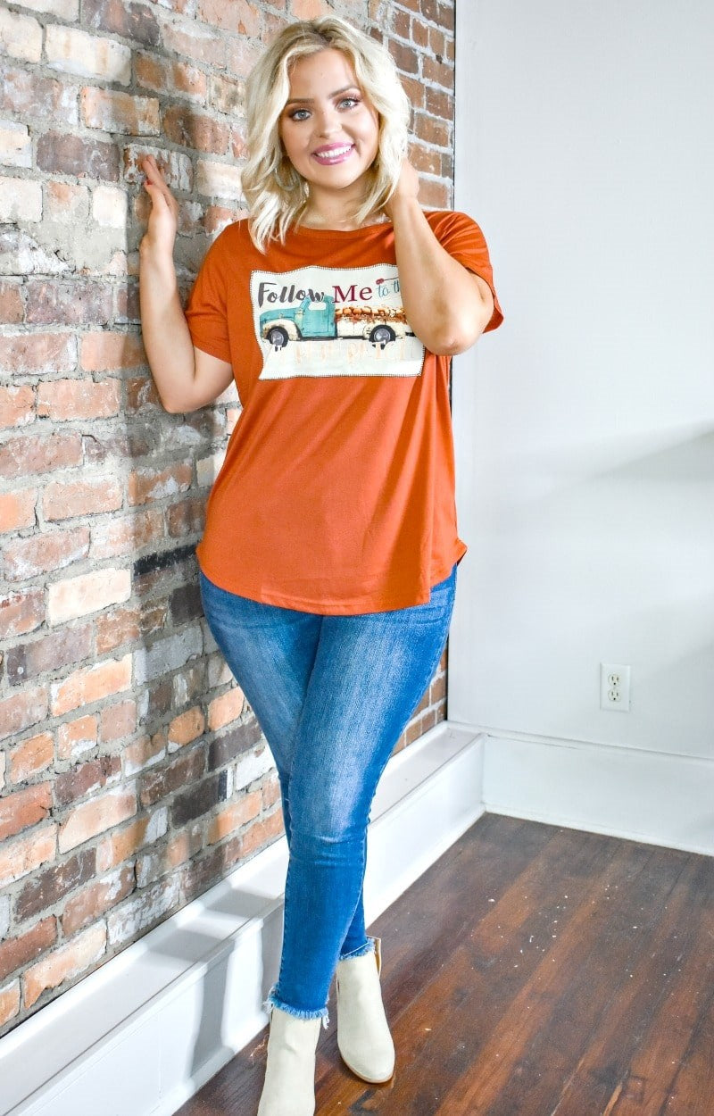 Load image into Gallery viewer, To The Pumpkin Patch Graphic Tee - Rust