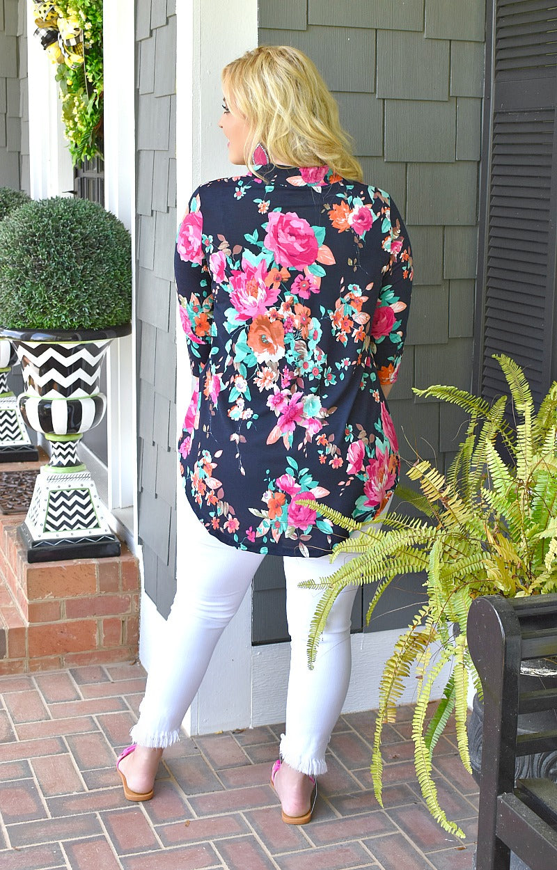 Load image into Gallery viewer, Call Me Yours Floral Top - Navy