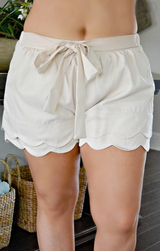 Signed & Sealed Scalloped Shorts - Beige
