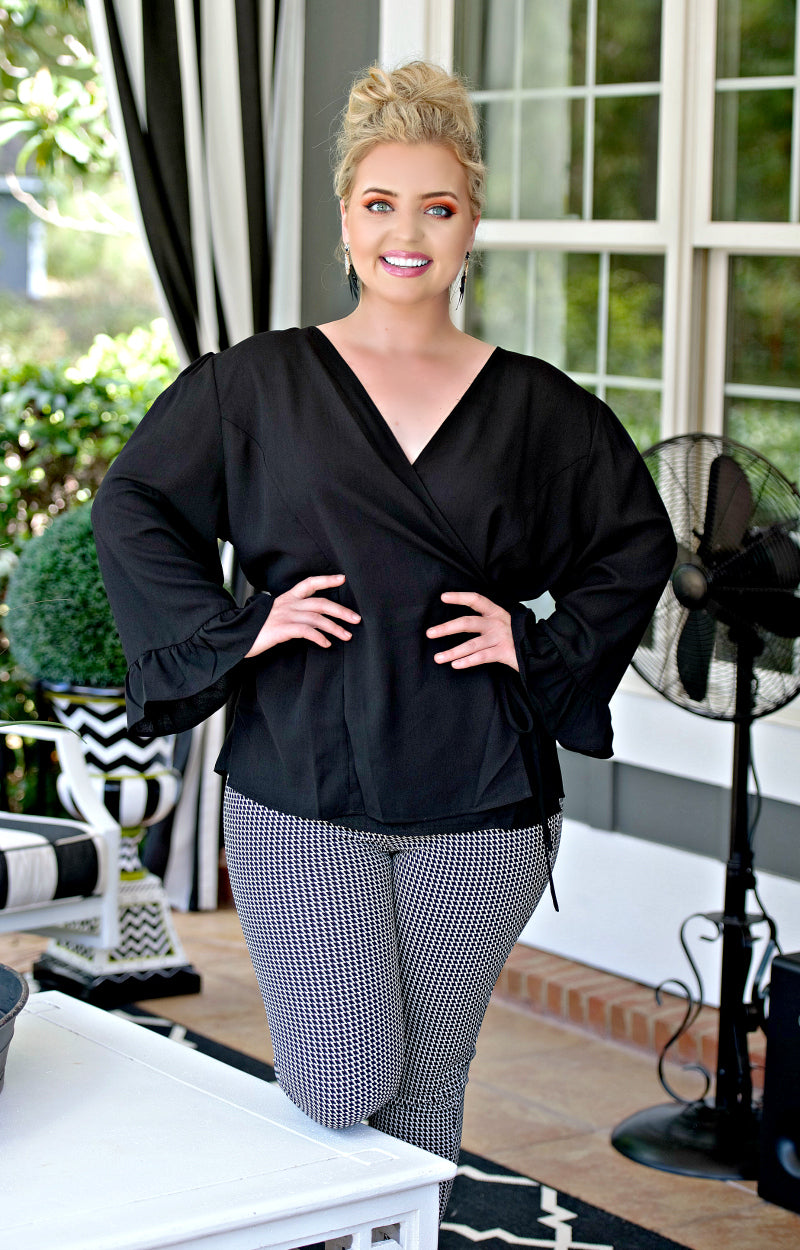 Load image into Gallery viewer, It's Go Time Wrap Top - Black