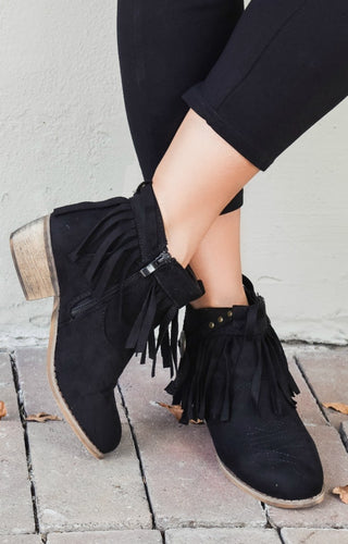 Early Mornings Fringe Booties - Black