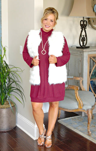 One More Wish Faux Fur Vest - Ivory