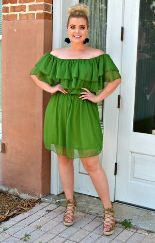 Time To Shine Dress - Palm Green