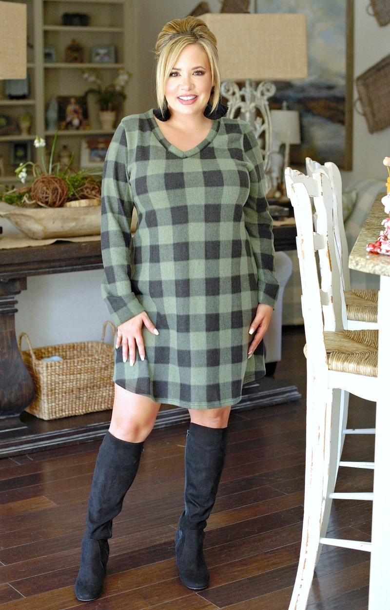 Load image into Gallery viewer, Glad I Met You Plaid Dress - Green/Black