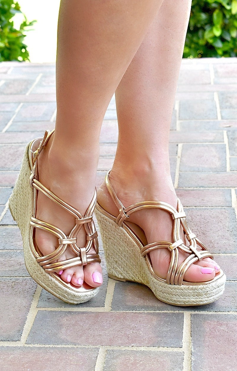 Load image into Gallery viewer, Enjoy It Now Wedges - Rose Gold