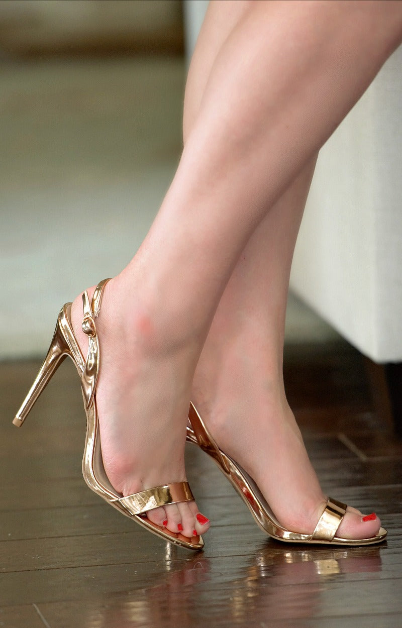 Load image into Gallery viewer, Double The Fun Slingback Heels - Rose Gold