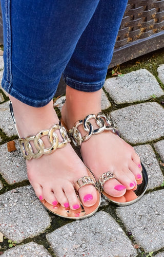Take Your Time Jelly Sandals - Gold