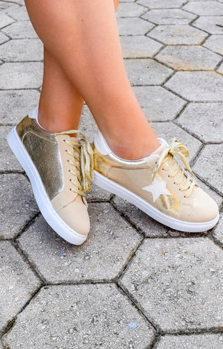 About That Life Star Sneakers - Metallic Gold