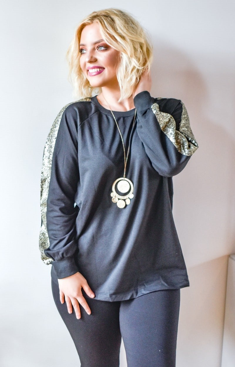 Get Glowing Sequin Pullover - Black