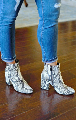 Got The Moves Snake Print Booties
