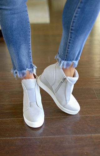 Own The Moment Wedge Sneakers - Light Gray