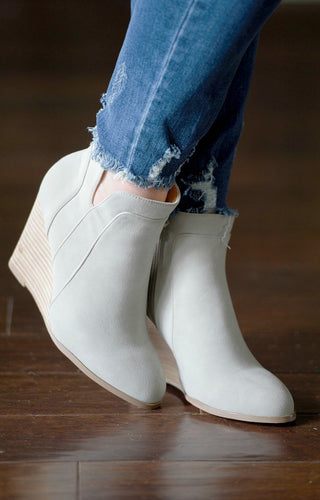 Where We Belong Wedge Booties - Gray