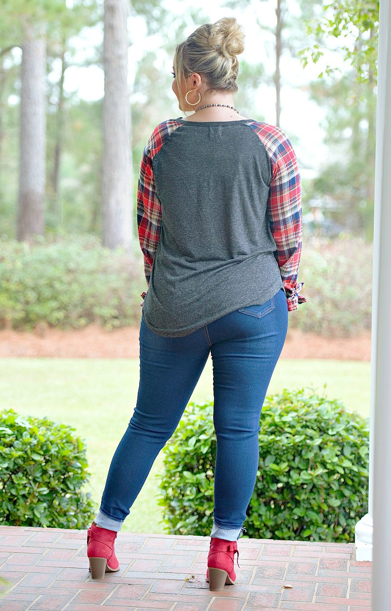 Truth Hurts Plaid Top - Charcoal