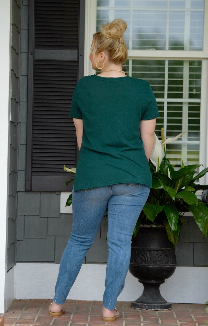 Load image into Gallery viewer, Lounging Around Pocket Tee - Hunter Green