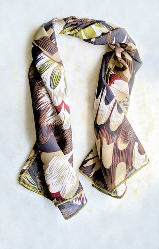 Look At You Print Hair Scarf - Brown Multi