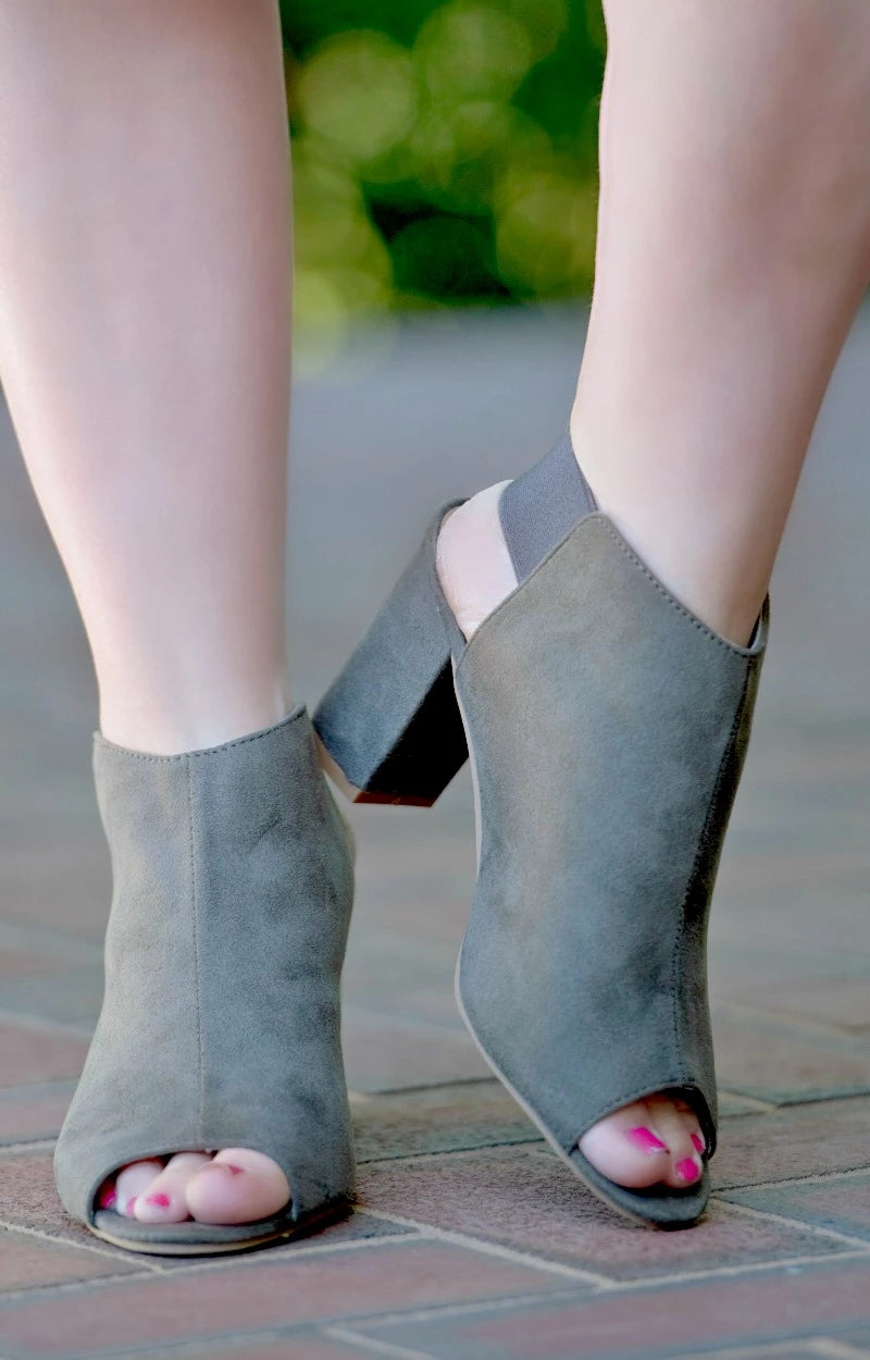 Highly Motivated Peep Toe Booties - Olive
