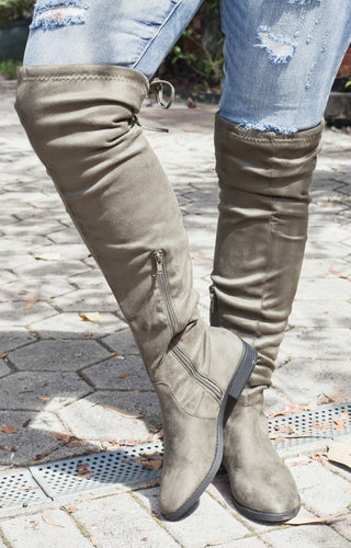 Go Getter Knee Boots - Olive