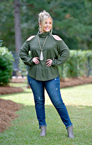 Actively Looking Cold Shoulder Sweater - Olive
