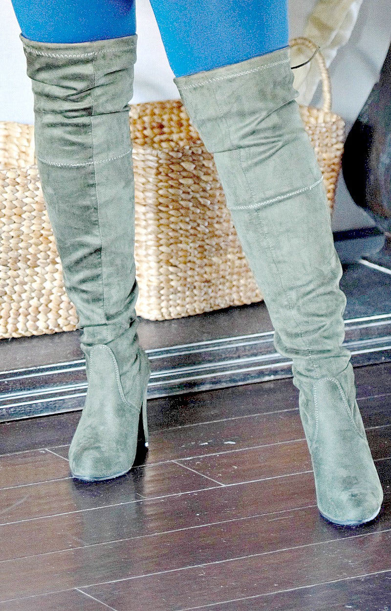Entice Me Over The Knee Boots - Olive