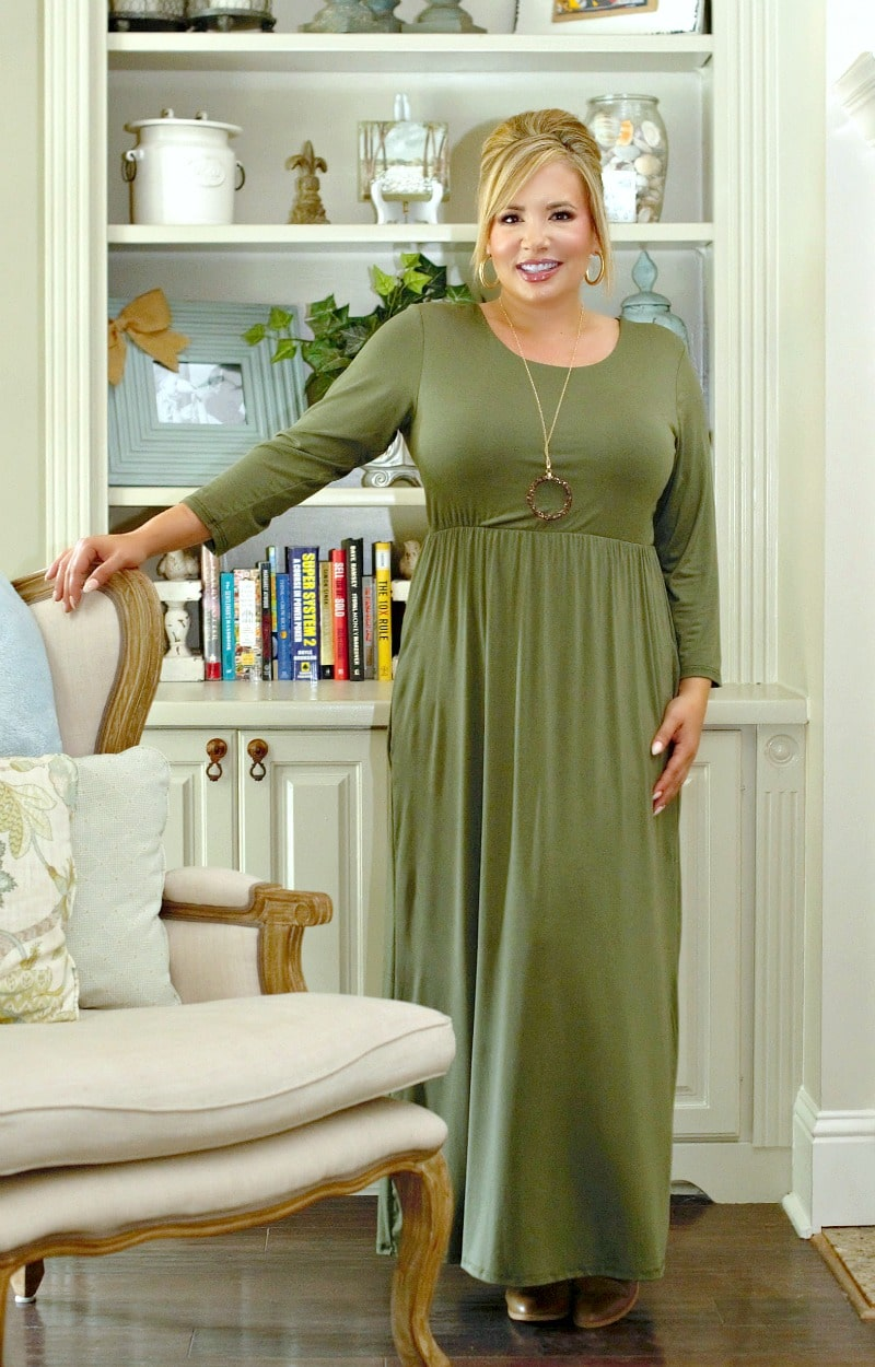 Load image into Gallery viewer, Don't Have Time Maxi Dress - Olive