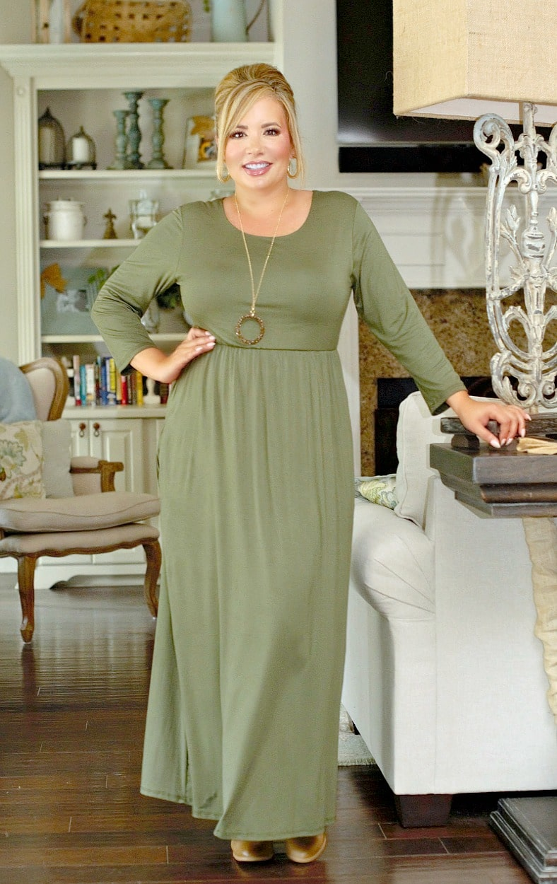 Don't Have Time Maxi Dress - Olive