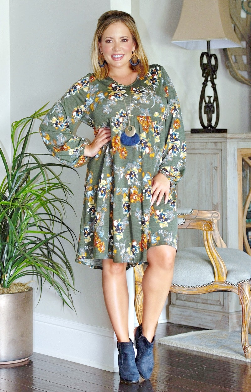 Meet Half Way Floral Dress - Olive