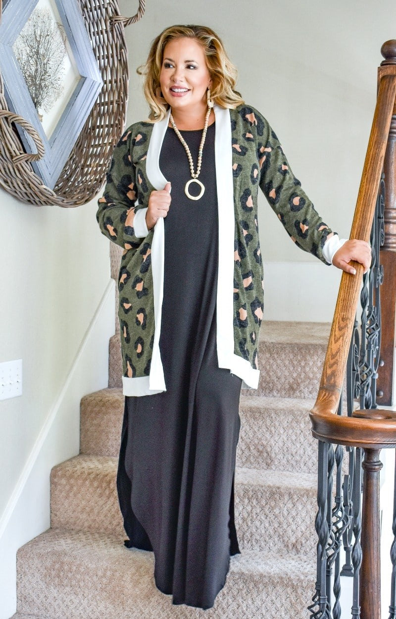 Made You Look Leopard Print Cardigan - Olive