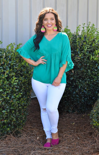 Stay Connected Oversized Top - Teal