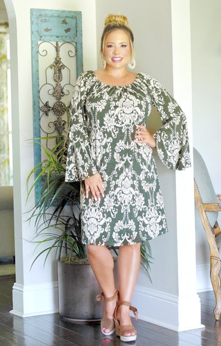 Make Me Yours Print Dress - Olive