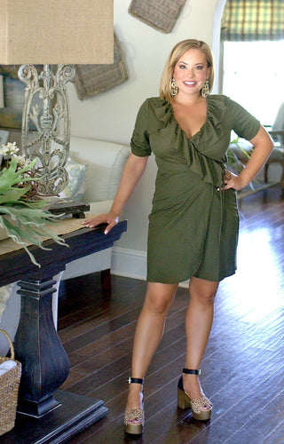 Always Gossiping Wrap Dress - Olive