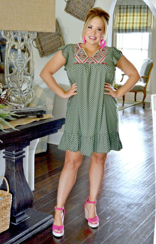 Need A Little Time Print Dress - Olive