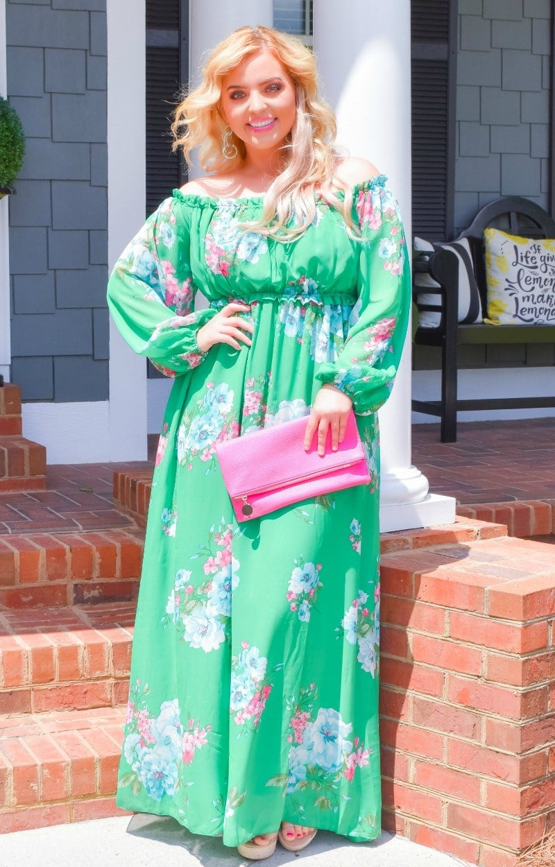 Heart Stopping Floral Maxi Dress - Jade