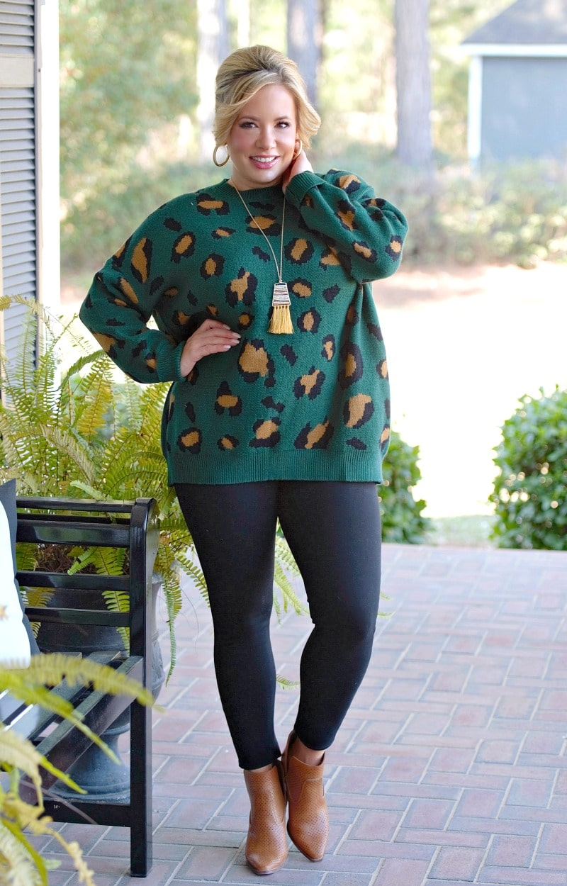 In The Know Leopard Print Sweater - Green